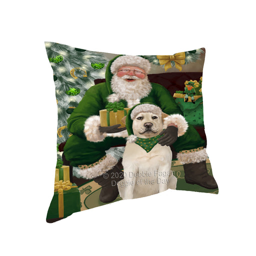 Christmas Irish Santa with Gift and Labrador Dog Pillow PIL86840