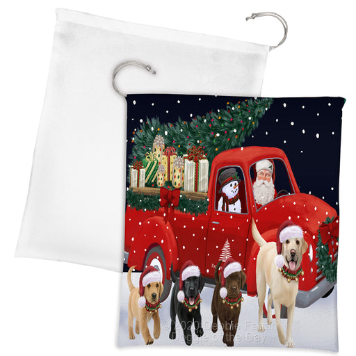 Christmas Express Delivery Red Truck Running Labrador Retriever Dogs Drawstring Laundry or Gift Bag LGB48908