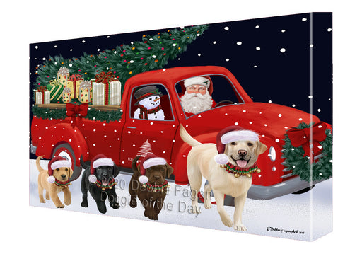 Christmas Express Delivery Red Truck Running Labrador Retriever Dogs Canvas Print Wall Art Décor CVS146150