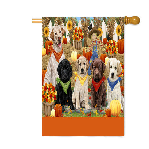 Personalized Fall Festive Gathering Labrador Dogs with Pumpkins Custom House Flag FLG-DOTD-A62013