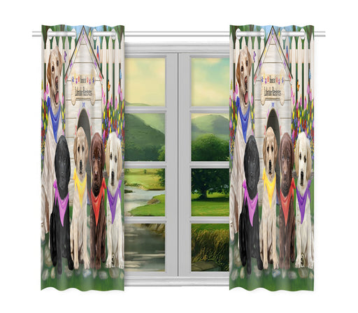 Spring Dog House Labrador Dogs Window Curtain
