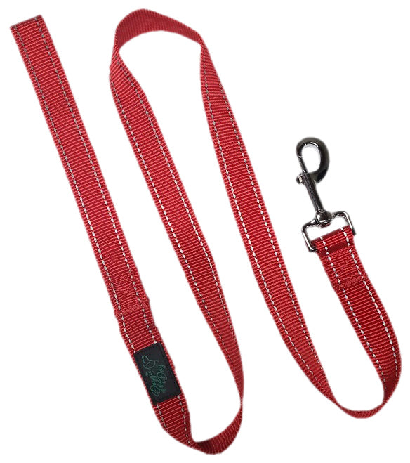 Reflective Nylon Buckle Dog Leash Red - We Donate to Rescues For Each Leash Purchased