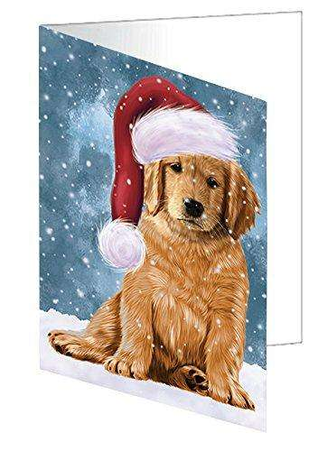 Let it Snow Christmas Golden Retrievers Dog Wearing Santa Hat Greeting Card