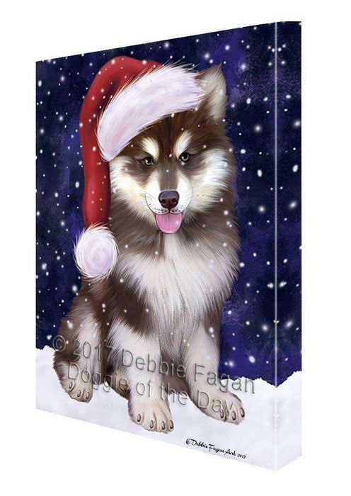 Let It Snow Christmas Happy Holidays Alaskan Malamute Blue Dog Print on Canvas Wall Art CVS837