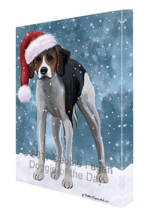 Let It Snow Christmas Happy Holidays American Foxhound Dog Print on Canvas Wall Art CVS855