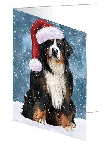 Let It Snow Christmas Happy Holidays Bernese Mountain Dog Greeting Card GCD1410