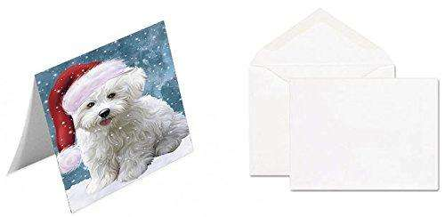 Let It Snow Christmas Happy Holidays Bichon Frise Dog Greeting Card GCD1295