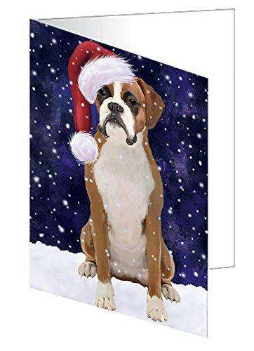 Let It Snow Christmas Happy Holidays Boxer Dog Greeting Card GCD695