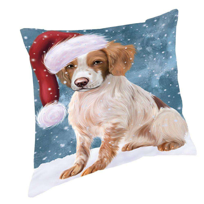 Let It Snow Christmas Happy Holidays Brittany Spaniel Dog Throw Pillow PIL932