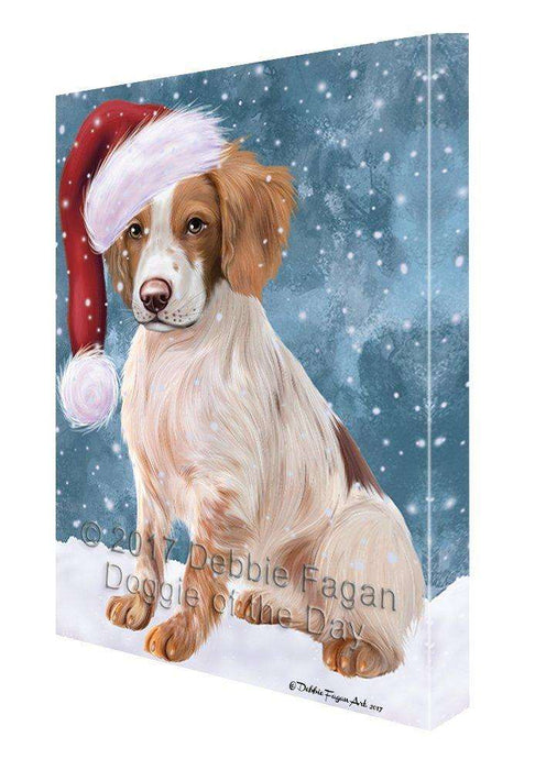 Let It Snow Christmas Happy Holidays Brittany Spaniel Light Blue Dog Print on Canvas Wall Art CVS936