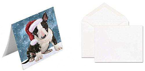 Let It Snow Christmas Happy Holidays Bull Terrier Dog Greeting Card GCD1370