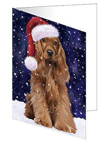 Let It Snow Christmas Happy Holidays Cocker Spaniel Dog Greeting Card GCD720