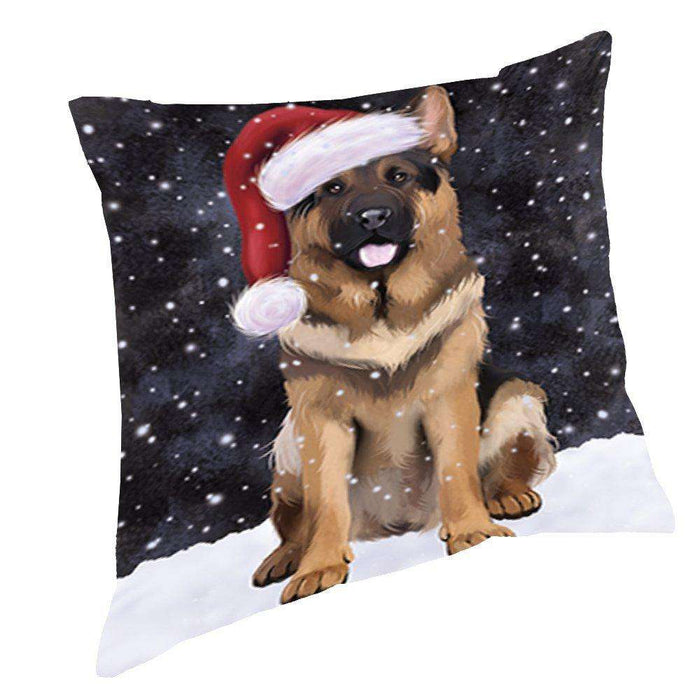 Let It Snow Christmas Happy Holidays German Shepherd Dog Throw Pillow PIL984