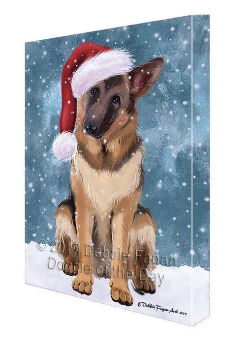 Let It Snow Christmas Happy Holidays German Shepherds Print on Canvas Wall Art CVS279