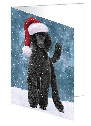 Let It Snow Christmas Happy Holidays Poodle Black Dog Greeting Card GCD1555
