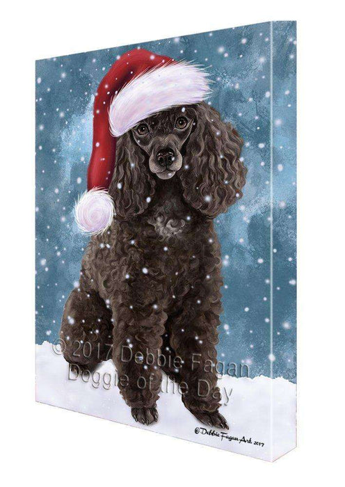 Let It Snow Christmas Happy Holidays Poodle Dog Print on Canvas Wall Art CVS441