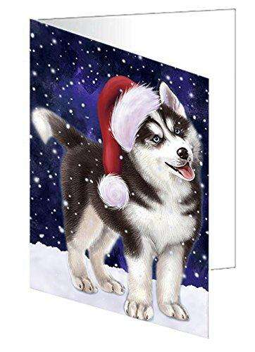 Let It Snow Christmas Happy Holidays Siberian Husky Dog Greeting Card GCD875