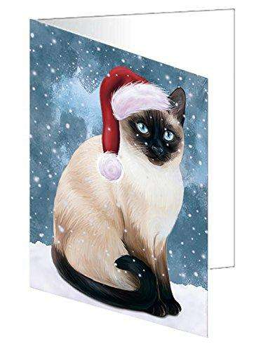 Let It Snow Christmas Happy Holidays Thai Siamese Cat Greeting Card GCD930