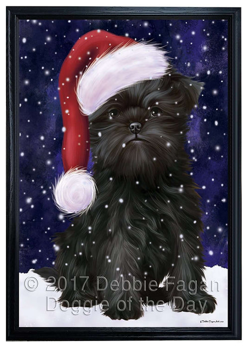 Let it Snow Christmas Holiday Affenpinscher Dog Wearing Santa Hat Framed Canvas Print Wall Art
