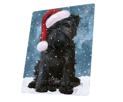 "Let It Snow Christmas Holiday Affenpinscher Dog Wearing Santa Hat Magnet Mini (3.5"" x 2"")"