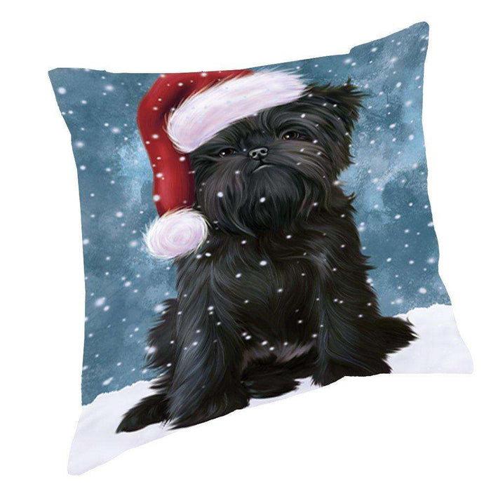 Let it Snow Christmas Holiday Affenpinscher Dog Wearing Santa Hat Throw Pillow