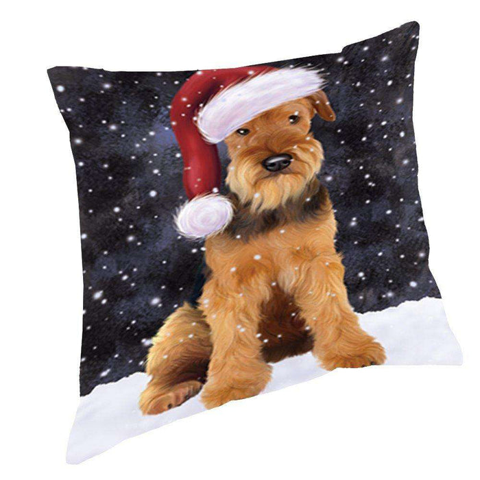 Let it Snow Christmas Holiday Airdale Dog Wearing Santa Hat Throw Pillow D415