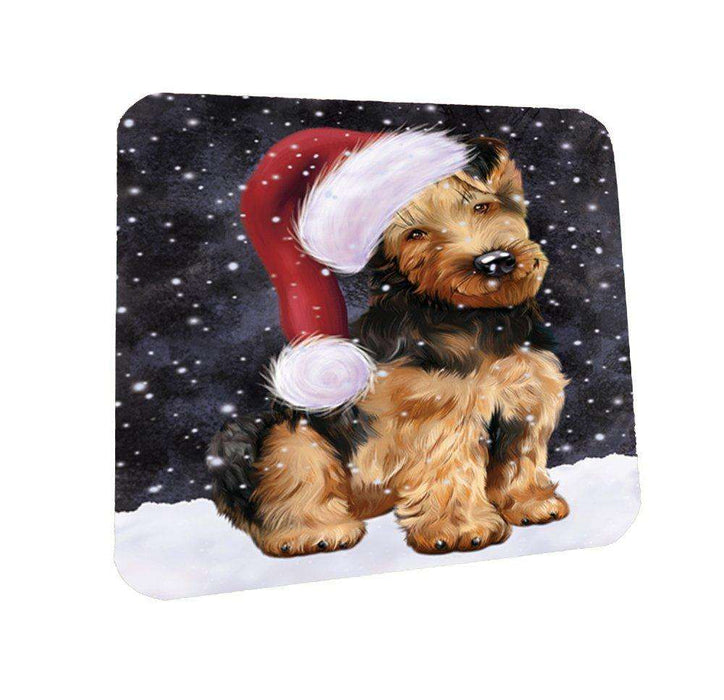 Let it Snow Christmas Holiday Airedale Dog Wearing Santa Hat Coasters Set of 4