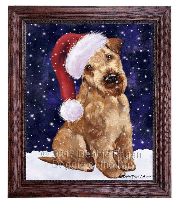 Let it Snow Christmas Holiday Airedale Dog Wearing Santa Hat Framed Canvas Print Wall Art