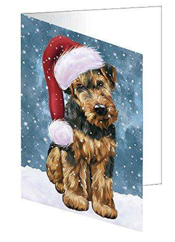 Let it Snow Christmas Holiday Airedale Dog Wearing Santa Hat Greeting Card
