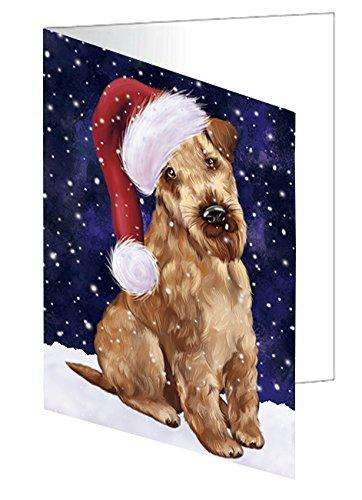 Let it Snow Christmas Holiday Airedale Dog Wearing Santa Hat Note Card