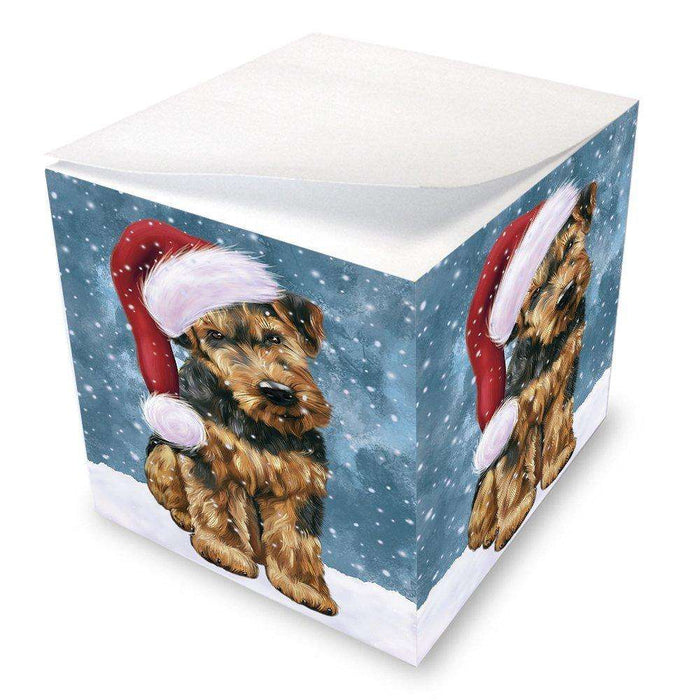 Let it Snow Christmas Holiday Airedale Dog Wearing Santa Hat Note Cube D241