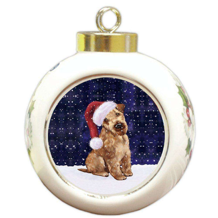 Let it Snow Christmas Holiday Airedale Dog Wearing Santa Hat Round Ball Ornament