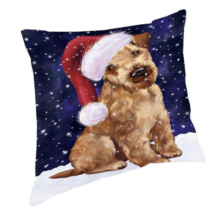 Let it Snow Christmas Holiday Airedale Dog Wearing Santa Hat Throw Pillow