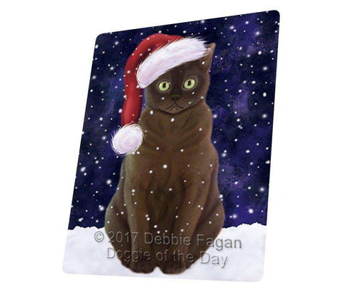 "Let It Snow Christmas Holiday American Bermese Zibeline Cat Wearing Santa Hat Magnet Mini (3.5"" x 2"") D216"