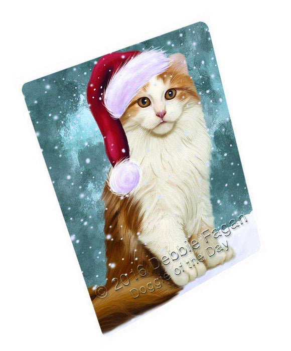 Let it Snow Christmas Holiday American Curl Cat Wearing Santa Hat Art Portrait Print Woven Throw Sherpa Plush Fleece Blanket