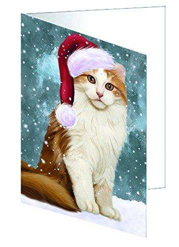 Let it Snow Christmas Holiday American Curl Cat Wearing Santa Hat Greeting Card