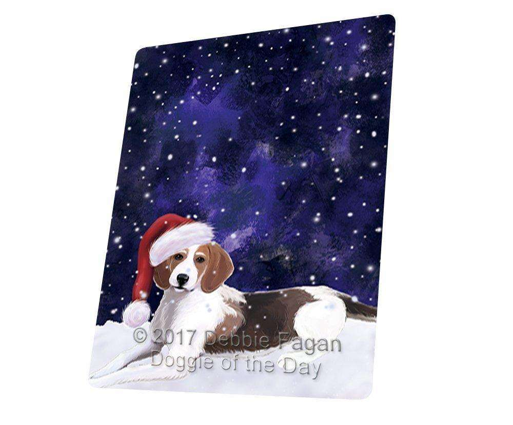 """Let It Snow Christmas Holiday American Foxhound Dog Wearing Santa Hat Magnet Small (5.5"""" x 4.25"""") d100"""
