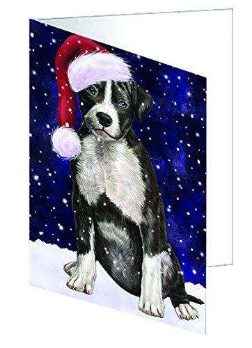 Let it Snow Christmas Holiday American Staffordshire Terrier Dog Wearing Santa Hat Greeting Card