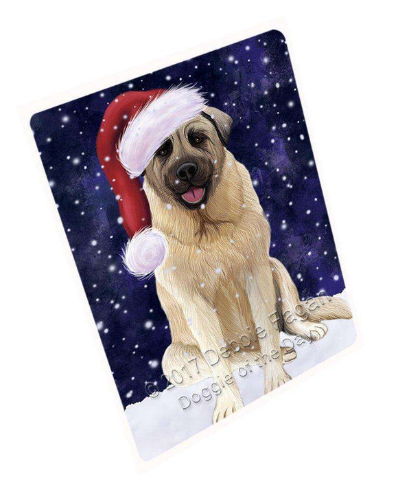 Let it Snow Christmas Holiday Anatolian Shepherd Dog Wearing Santa Hat Art Portrait Print Woven Throw Sherpa Plush Fleece Blanket D012