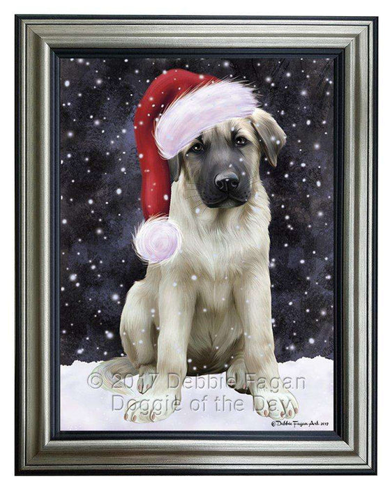 Let it Snow Christmas Holiday Anatolian Shepherds Dog Wearing Santa Hat Framed Canvas Print Wall Art