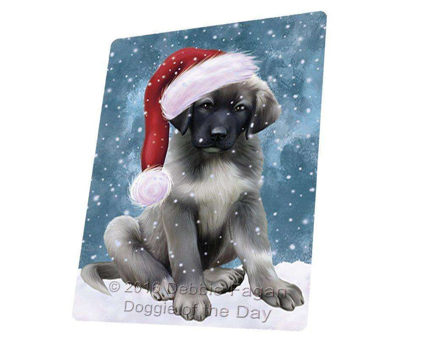 "Let It Snow Christmas Holiday Anatolian Shepherds Dog Wearing Santa Hat Magnet Mini (3.5"" x 2"")"
