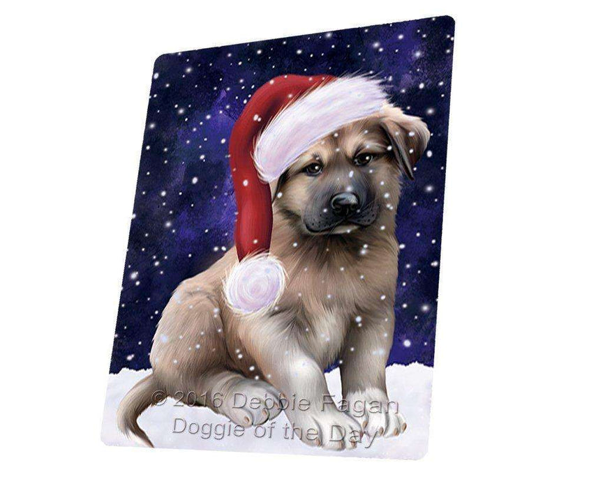 "Let It Snow Christmas Holiday Anatolian Shepherds Dog Wearing Santa Hat Magnet Small (5.5"" x 4.25"")"