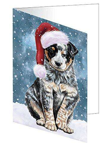 Let it Snow Christmas Holiday Australian Cattle Dog Wearing Santa Hat Greeting Card