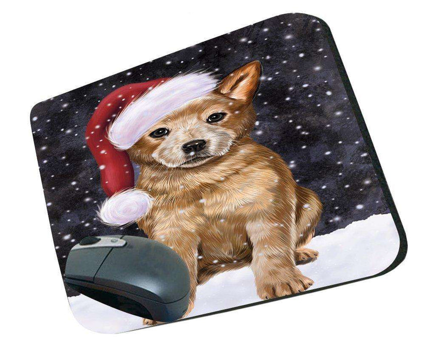 Let it Snow Christmas Holiday Australian Cattle Dog Wearing Santa Hat Mousepad