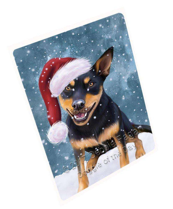 "Let It Snow Christmas Holiday Australian Kelpie Black And Tan Dog Wearing Santa Hat Magnet Mini (3.5"" x 2"") D015"
