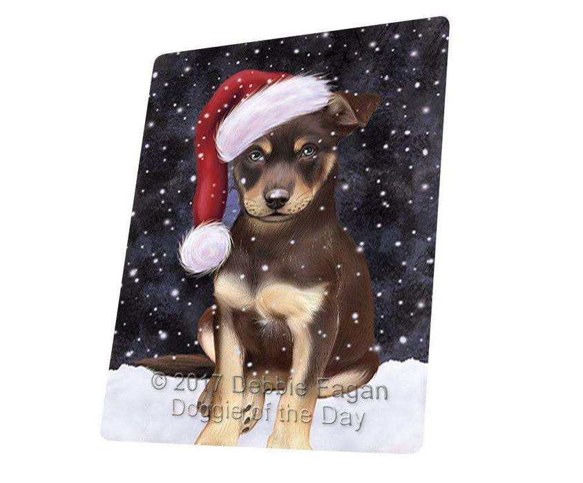 Let it Snow Christmas Holiday Australian Kelpies Dog Wearing Santa Hat Art Portrait Print Woven Throw Sherpa Plush Fleece Blanket D101