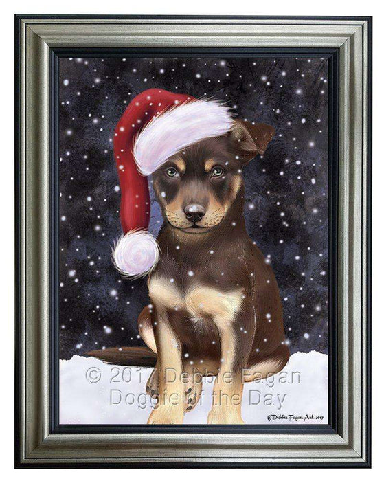 Let it Snow Christmas Holiday Australian Kelpies Dog Wearing Santa Hat Framed Canvas Print Wall Art D012