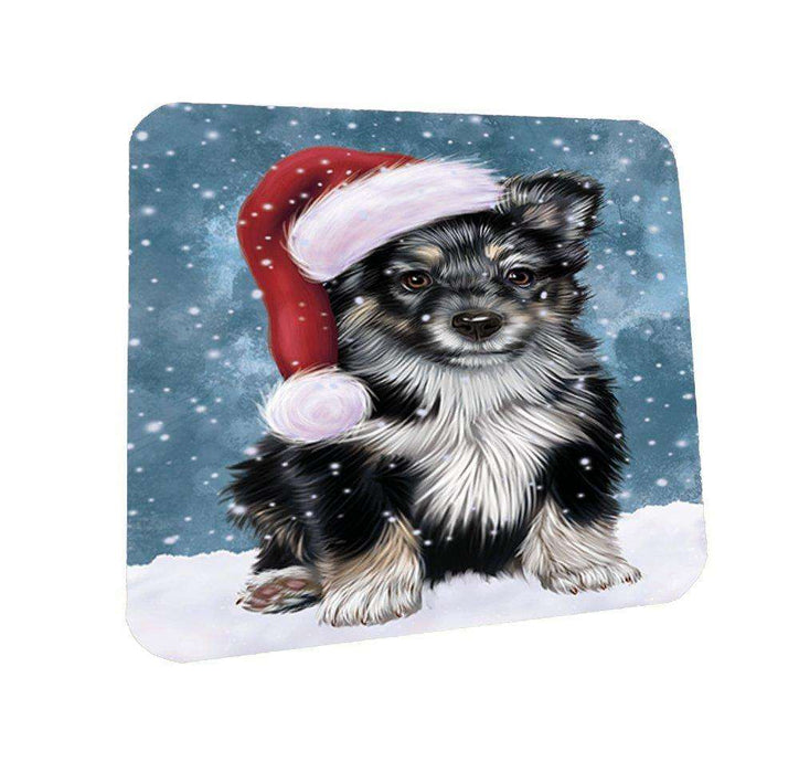 Let it Snow Christmas Holiday Australian Shepherd Dog Wearing Santa Hat Coasters Set of 4