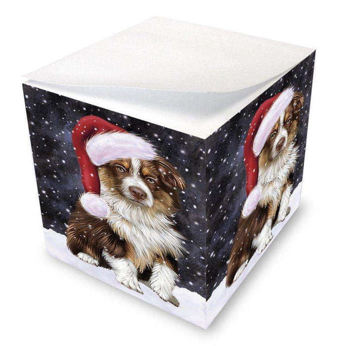 Let it Snow Christmas Holiday Australian Shepherd Dog Wearing Santa Hat Note Cube D248