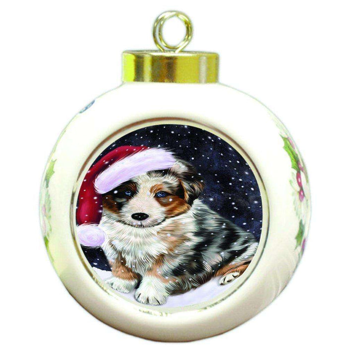 Let it Snow Christmas Holiday Australian Shepherd Dog Wearing Santa Hat Round Ball Ornament D304
